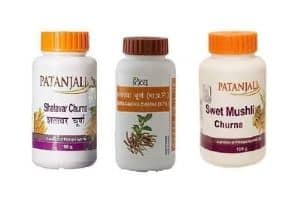Patanjali Combo of Shatavar, Swet Mushli, and Ashwagandha Churna